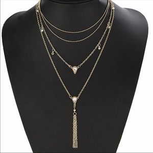 NWT Layered Gold Crystal Necklace